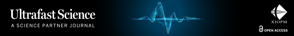 Attosecond science banner image of blue waves on a black background